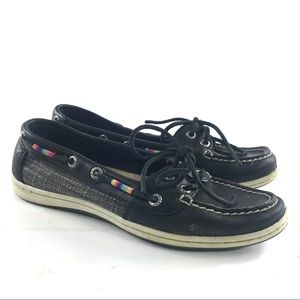Sperry Firefish Leather Boat Shoes Black Rainbow